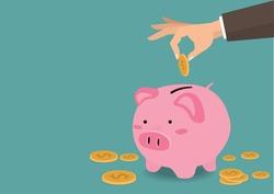 Hand putting coin a piggy bank money savings