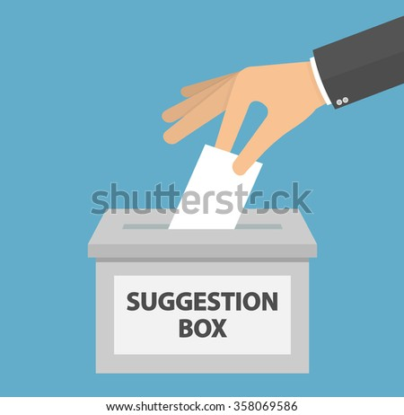 Hand putting or inserting blank piece of paper in the suggestion box. Flat style