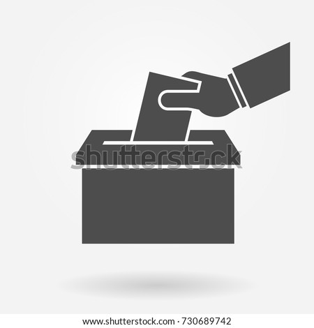 Hand putting paper in a box icon