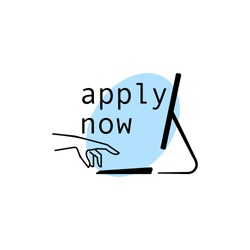 Hand reaching to apply with text: Apply Now. Concept of applying online using web.