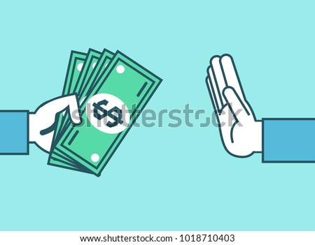 Hand rejecting money. Stop corruption, don't take bribes, money concept. Simple style vector illustration Foto d'archivio ©