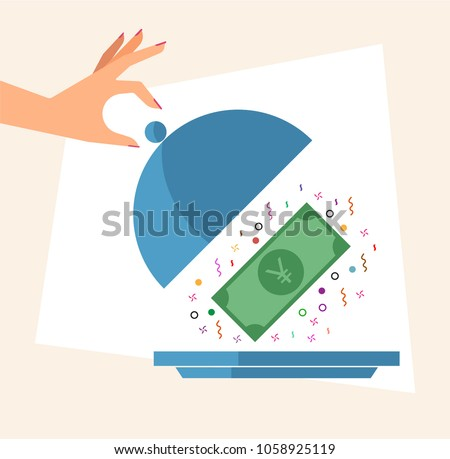 Hand revealing Money in a Cloche. Cashback concept. Vector illustration of hand, cloche and Japanese Yen currency banknote. Stock photo ©