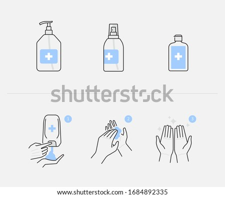 Hand sanitizer and hygienic gel products icon set, alcohol based antiseptic or anti bacterial  gel, step by step applying hand sanitizer to hands properly, infographics vector