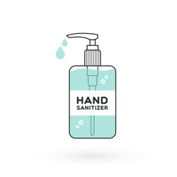 Hand sanitizer bottle isolated with pump. Washing alcohol gel used against viruses, bacteria, flu, coronavirus. Waterless hand cleaner. Handwashing. Black outline. Vector illustration, flat design