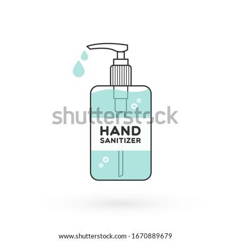 Hand sanitizer bottle isolated with pump. Washing alcohol gel used against viruses, bacteria, flu, coronavirus. Waterless hand cleaner. Handwashing. Black outline. Vector illustration, flat design