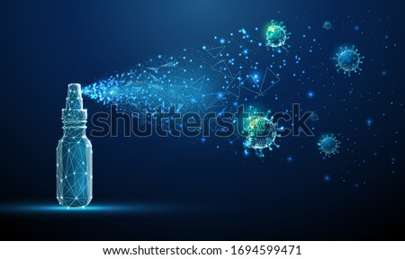 Hand sanitizer breaking down molecule of Coronavirus. Covid-19 virus. Low poly style design. Abstract futuristic geometric background.  Modern graphic concept. Isolated vector illustration