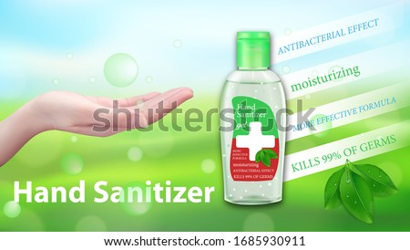 Hand Sanitizer gel ads. Antibacterial effect, antiseptic hand gel in bottles with leaves elements. Horizontal banner Best protection. Vector illustration.