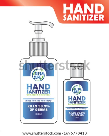Hand sanitizer label design vector graphic template for packaging design.