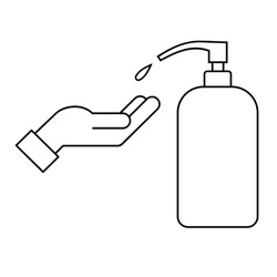 Hand sanitizer line icon. Hand and liquid soap. Washing hands. Alcohol sanitizer bottle and human palm. Antivirus and antibacterial protection. Corona virus prevention. Vector illustration, clip art.