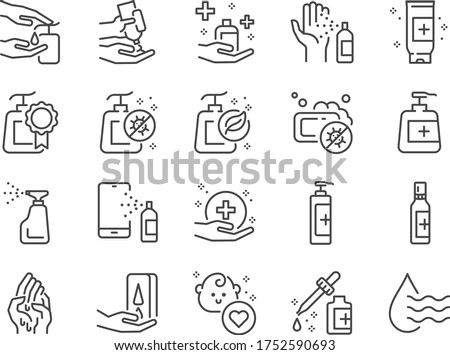 Hand sanitizer line icon set. Included icons as hand wash, hand gel, alcohol gel, alcohol spray,hygiene and more.