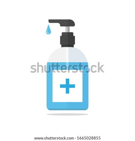 Hand sanitizer pump bottle, washing gel, alcohol gel, illustration, Vector, isolated on white background