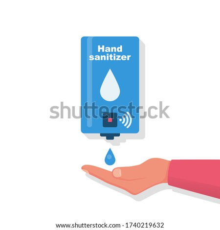 Hand sanitizer wall. People use automatic alcohol antiseptic gel. Drop of antibacterial gel in palm. Prevention coronavirus covid-19. Sanitizer bottle hygiene product. Cleaning washing hands. Vector.