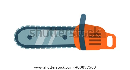 hand saw chainsaw flat vector