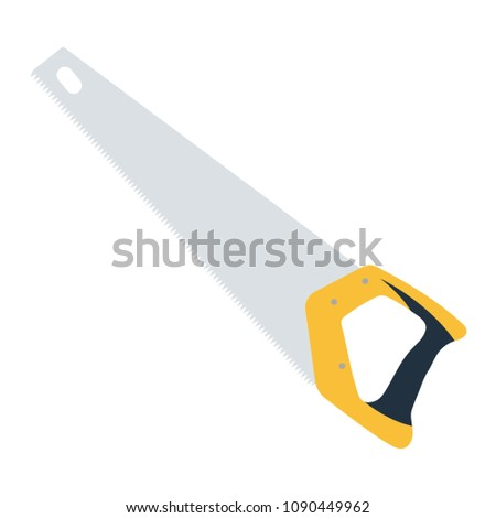 Hand saw icon. Flat color design. Vector illustration.