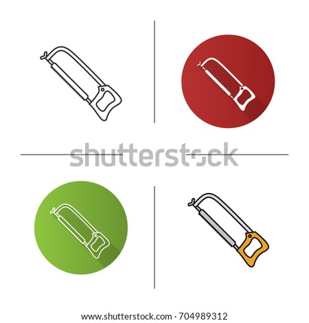 Hand saw icon. Flat design, linear and color styles. Isolated vector illustrations