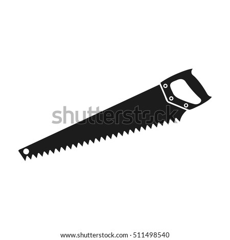 hand saw icon in black style
