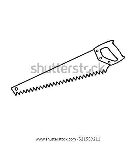 Hand saw icon in  style isolated on white background. Sawmill and timber symbol stock vector illustration.