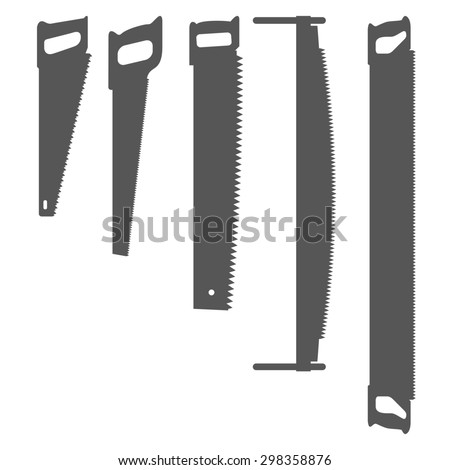 Hand saw. Set of silhouettes carpentry tools for sawing wood products. One-handed and two-handed saw. Can be used for articles and posters on the theme of manual works. Vector illustration.