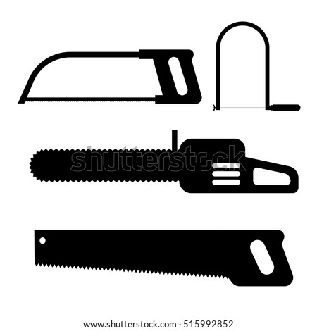 Hand saw silhouette icon set of carpentry tools for sawing wood products