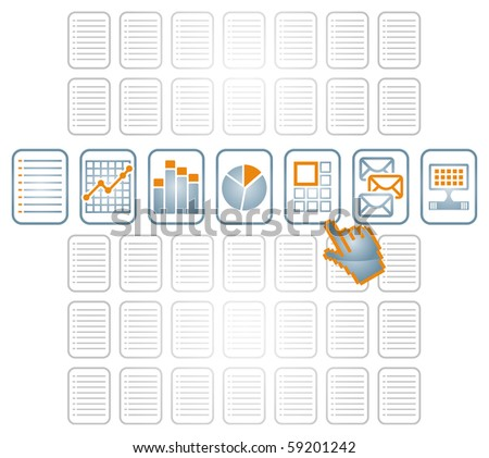 Hand selecting different documents icon, communication illustration