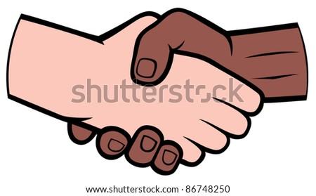 Hand shake between black and white man (handshake)