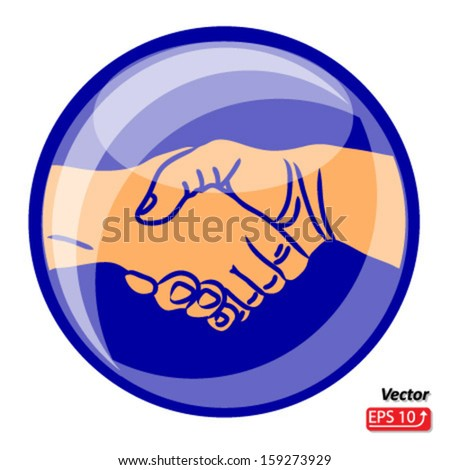 Hand shake, shaking hands symbol, sign, isolated on white background vector #159273929