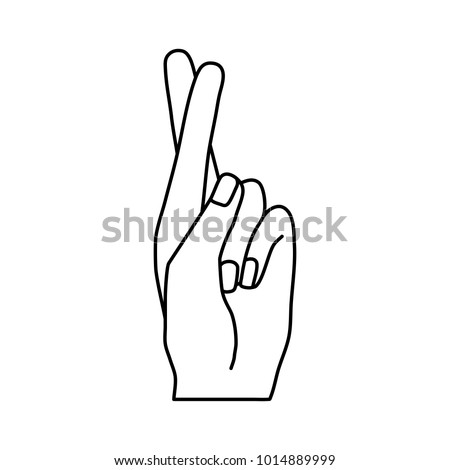 Hand showing fingers crossed. Hand gesture mean Lie or luck, superstition symbol.Vector line icon on flat design style
