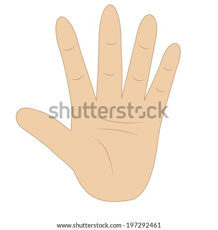 hand  showing number five on