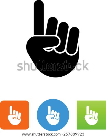 hand showing number one symbol