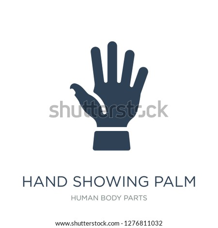 hand showing palm icon vector on white background, hand showing palm trendy filled icons from Human body parts collection, hand showing palm vector illustration