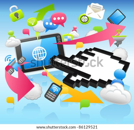 Hand Sign ,cloud computing,internet,business set
