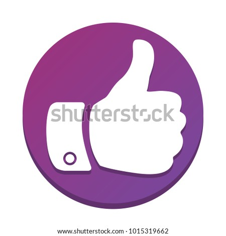 Hand sign illustration. Vector. White icon with flat shadow on purpureus circle at white background. Isolated.