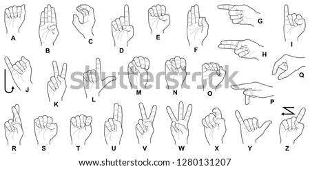 Hand sign language alphabet collection - vector line illustration