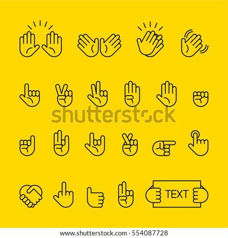 hand sign line icon vector illustration flat design