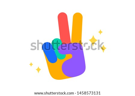 Hand sign victory or peace. Fun Sticker. Colorful fun sticker - hand up sign Victory or Peace with stars. Design cartoon stickers, pins, badges isolated on white background. Vector Illustration Stock photo ©