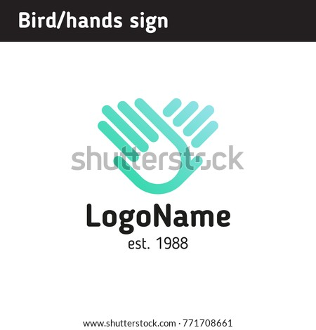 Hand sign wings of a bird, for an educational or charitable organization