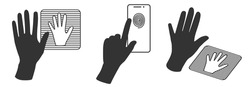 Hand silhouette and scanning system for human palm and  fingerprint. Concept of human identification. Vector icon in outline style.