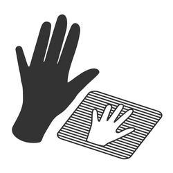 Hand silhouette and scanning system for human palm. Concept of identification system. Outline vector icon.