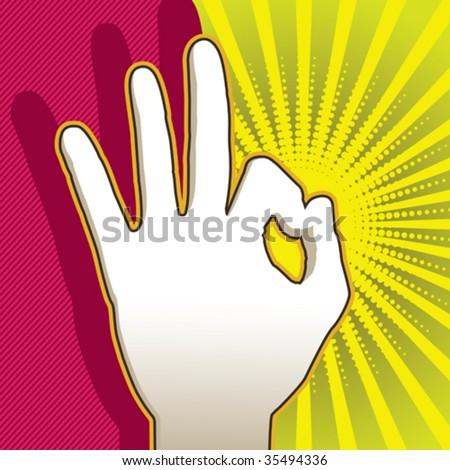 Hand silhouette gesture ok. Vector illustration.