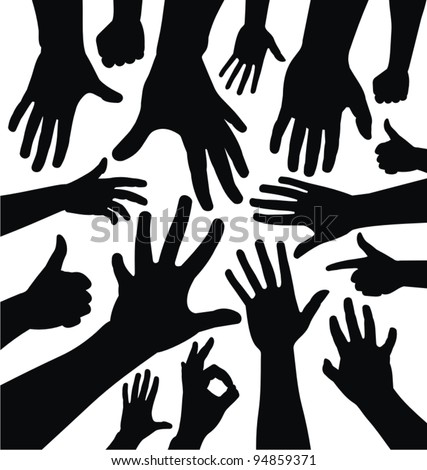 Hand silhouettes collection. Left and right hands graphics isolated on white background.