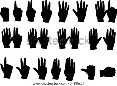 Hand Silhouettes counting from 1 to 10