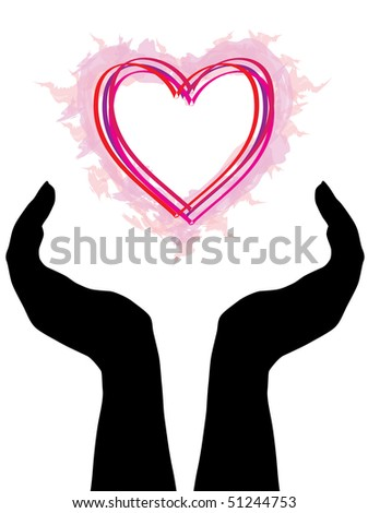 hand silhouettes with heart