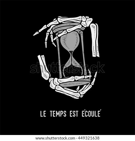 hand skeleton and hourglass