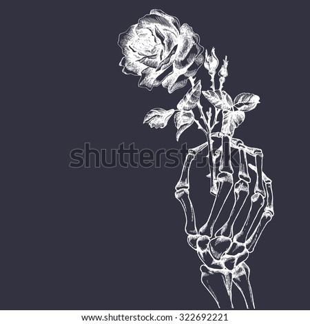 hand skeleton with flower