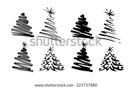 Hand sketch Christmas tree. Vector illustration