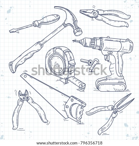hand sketch icons set of carpentry tools, a saw, pliers, screwdriver and tape measure