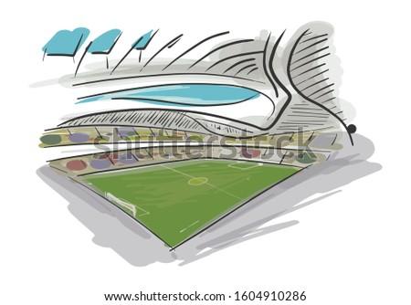 hand sketch of al-janoub stad - Al Wakra football stadium or alwakra stad in  Qatar - stad is designed by Zaha Hadid