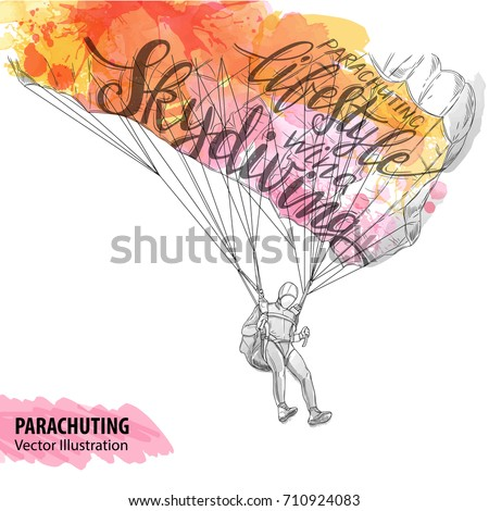 hand sketch of parachuting
