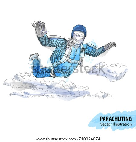 hand sketch of skydiving