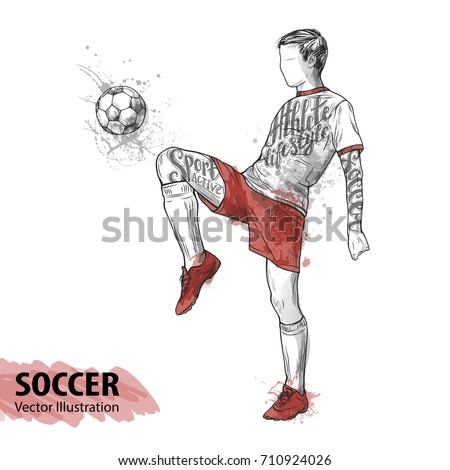 hand sketch of soccer player